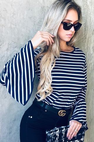 Bell Sleeve Striped Sleeve - Navy