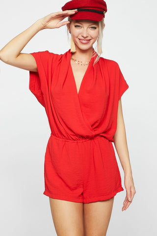 Summer Nights Dolman Sleeve Romper - Red Coral