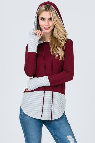 Color Block Striped Hoodie - Burgundy