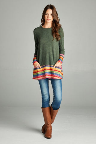 A Touch of a Rainbow Tunic Top - Olive