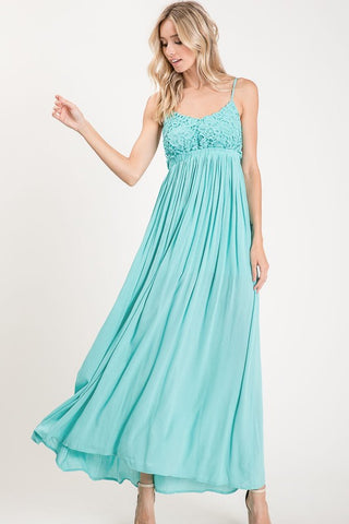 Elegant Lace Open Back Dress - Blue Green