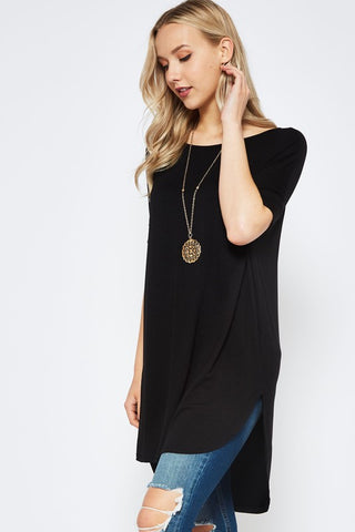 High Low Short Sleeve Tunic - Black