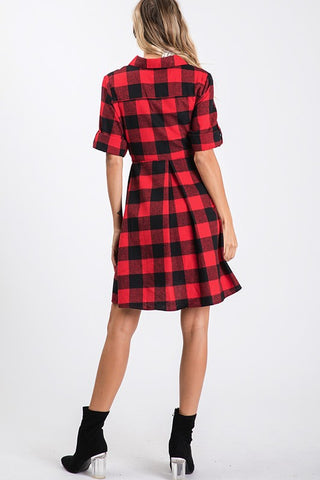 Plaid Tie Button Up Dress - Red