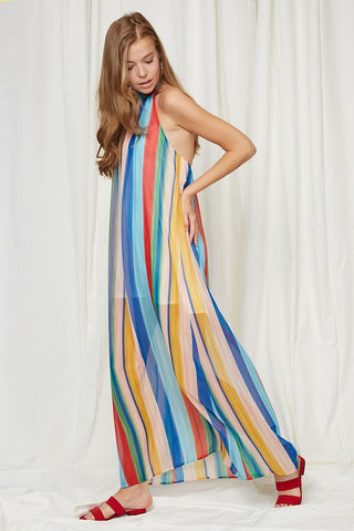 Rainbow Stripes Halter Maxi Dress
