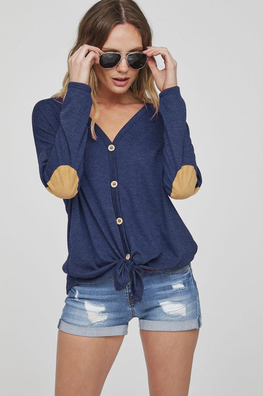 d9c55400e Button Up Knit Top with Elbow Patch - Navy