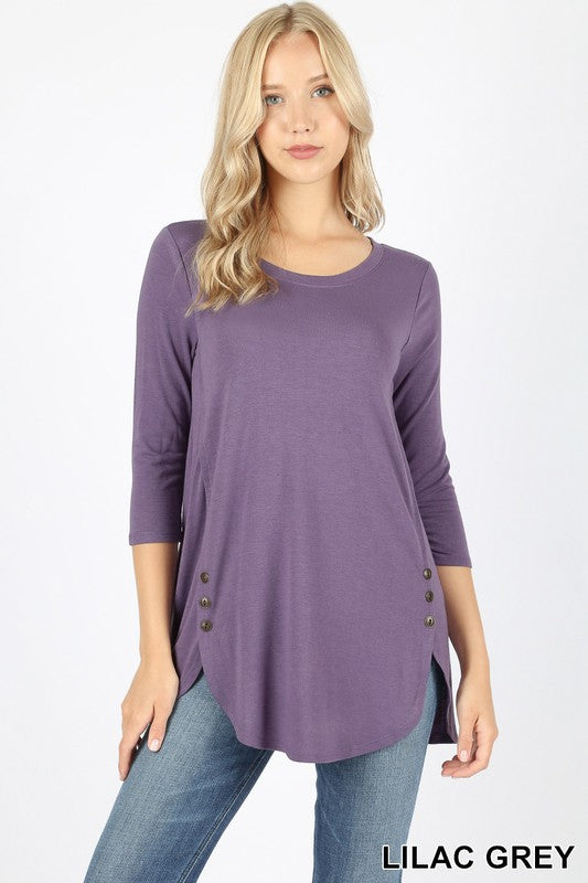 f92999a49f3 Button Detail Tunic Top - Lilac Gray | Blue Chic Boutique