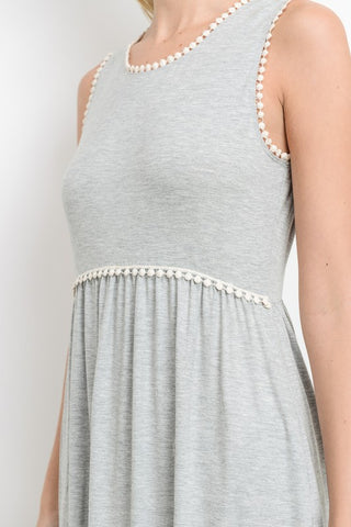 Pom Pom Detail Maxi Dress - Gray