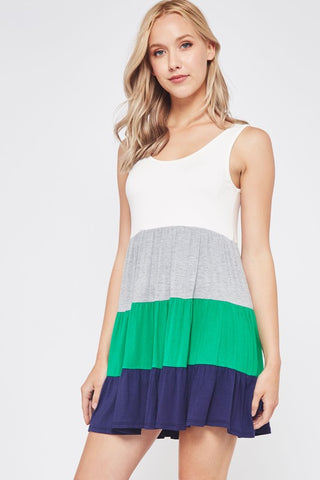 Spring Fling Color Block Tank Dress - Green