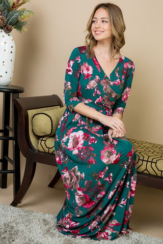 Floral Wrap Maxi Dress - Hunter