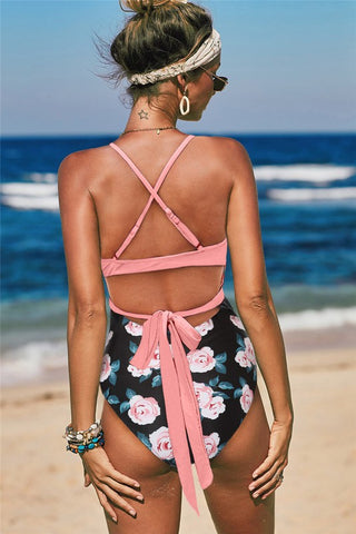 Cross Wrap One Piece Swimsuit - Pink