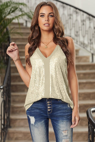 Sequined Racerback Tank Top - Gold - Ships Monday, January, 25th