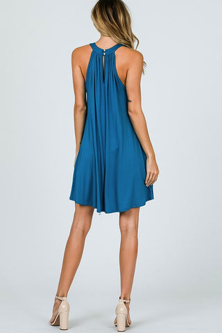 Simple Knit Halter Dress - Teal