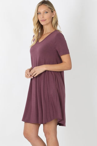 V-Neck A-Line Dress -  Egg Plant