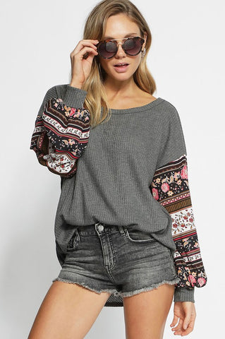 Puff Sleeve Boho Top - Charcoal