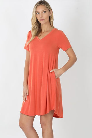 V-Neck A-Line Dress -  Ash Copper