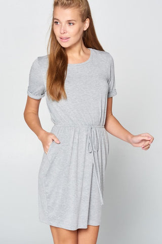 Casual Elastic Waist Dress - Gray