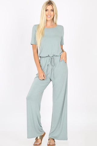 Short Sleeve Jumpsuit - Light Green