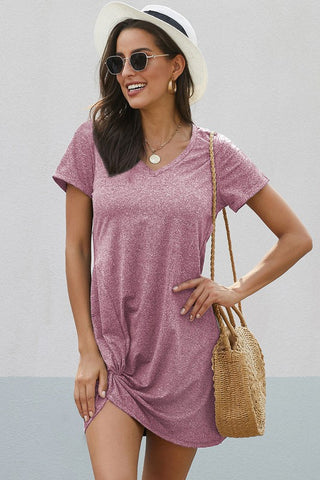 Side Knot T-Shirt Dress - Pink