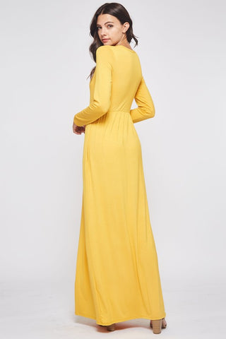 Solid Long Sleeve Maxi Dress - Mustard