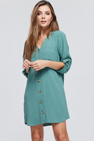 Button Down Shift Dress - Sage