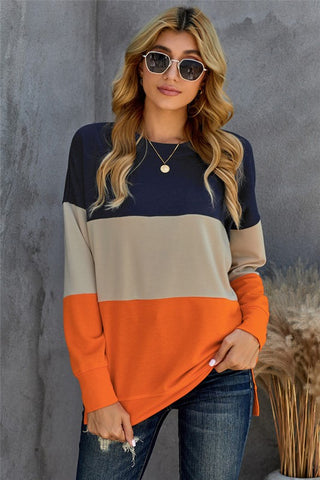 Colorblock Sweatshirt - Orange