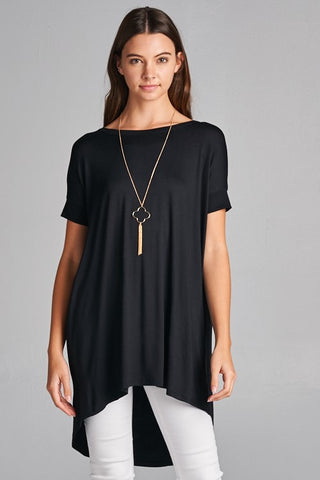 Criss Cross Flowy Top - Black