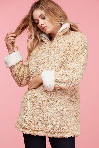 Fluffy Cloud Sherpa Pullover - Beige