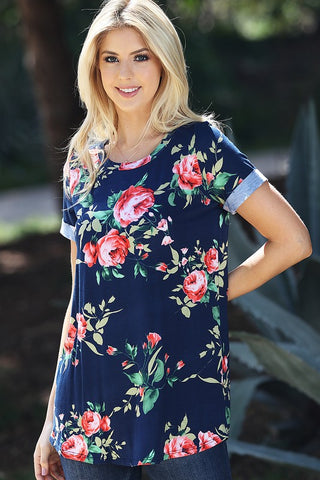 Spring Floral Tee Shirt - Navy