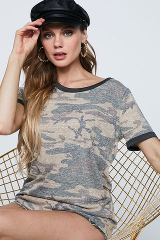 Casual Camo Top - Taupe