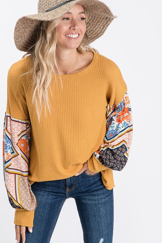 Boho Bishop Sleeve Top - Mustard