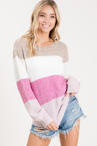 Pastel Color Block Sweater - Pink