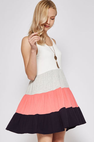 Spring Fling Color Block Tank Dress - Coral