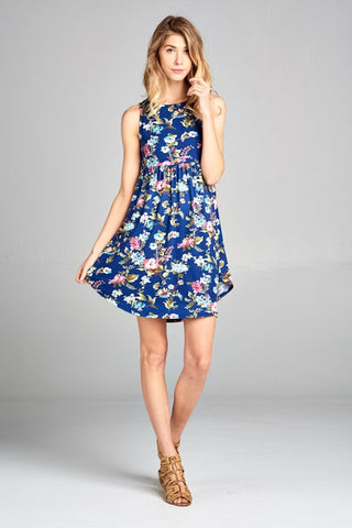 Simple Tank Style Dress - Navy Floral