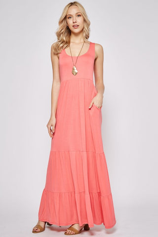 Layered Maxi Dress - Coral