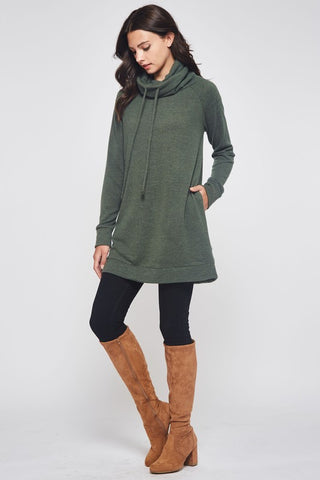 Winter Cowl Neck Tunic - Olive