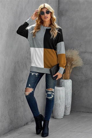 Colorblock Sweatshirt - Grey, and Black