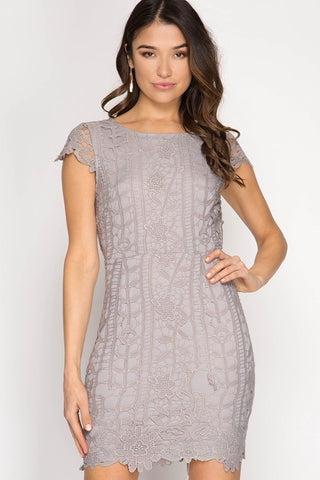 Elegant Lace Dress - Grey