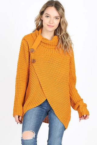 Cool Night Criss Cross Sweater -  Desert Mustard