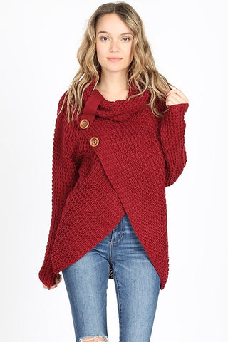 Cool Night Criss Cross Sweater -  Cabernet