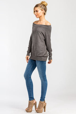 Casual Fall Off Shoulder Top - Charcoal