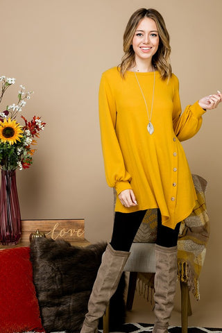 Balloon Sleeve Tunic - Mustard