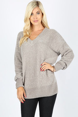 Velvet Yarn V-Neck Sweater - Light Gray