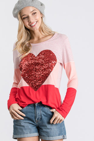 Sequined Heart Top - Pink