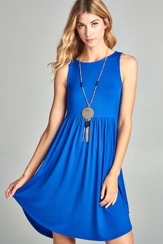 Simple Tank Style Dress - Royal Blue