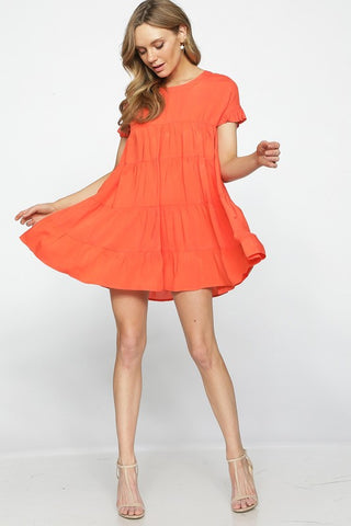 Ruffle Baby Doll Dress - Orange