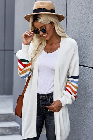 Long Balloon Rainbow Sleeve Cardigan - White
