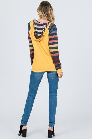 Raglan Sleeve Striped Hoodie - Light Brick