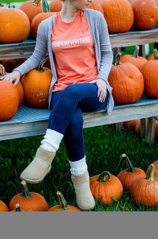 Flannels, Boots, and Pumpkin Spice Graphic Tee - Heather Orange