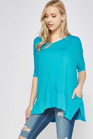 V-Neck Half Sleeve Top - Soft Aqua