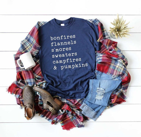 Bonfires, Flannels, S'Mores, Sweaters, Campfires & Pumkins Graphic Tee - Heather Forest
